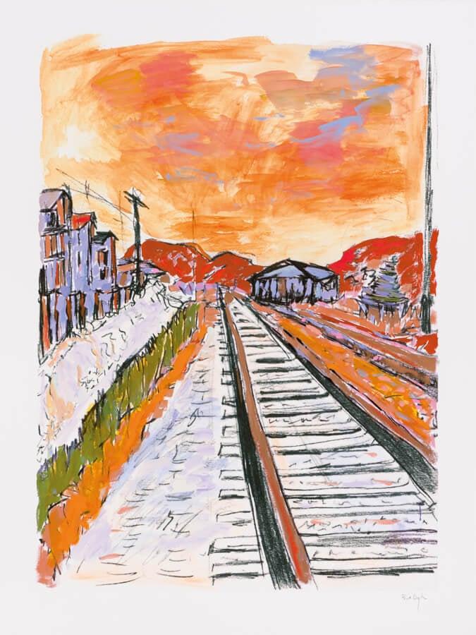 Bob Dylan, Side Tracks, 1964, train tracks, Halcyon Gallery