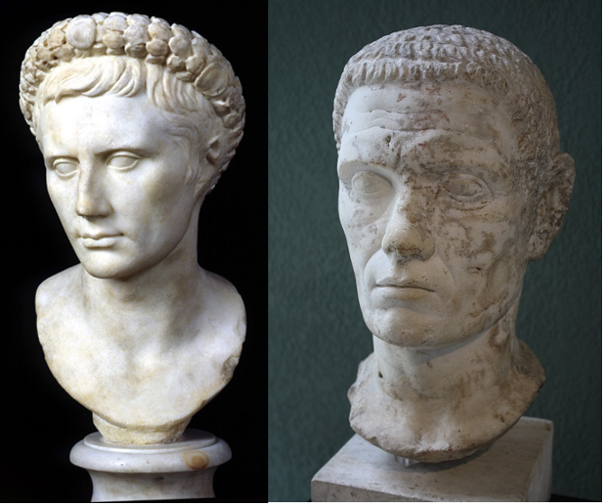 Sculpture or Bust of Augustus and Claudius showing youthful look and low relief