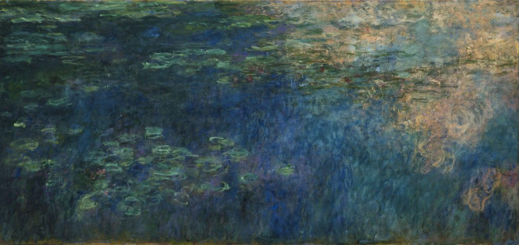Monet's series paintings: Claude Monet, Reflections of Clouds on the Water-Lily Pond, c. 1920, Museum of Modern Art, New York, NY, USA.