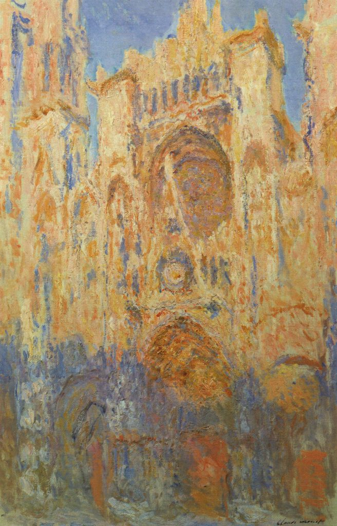 Claude Monet, Rouen Cathedral, Facade (sunset), Harmony in gold and blue, 1892-1894, Musée Marmottan Monet, Paris, France.