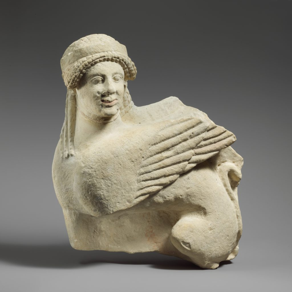 Cypro-Classical fragment of a limestone funerary stele with seated sphinx, middle of the 5th century BCE, Metropolitan Museum of Art, New York, NY, USA. Funerary stelae of ancient Cyprus