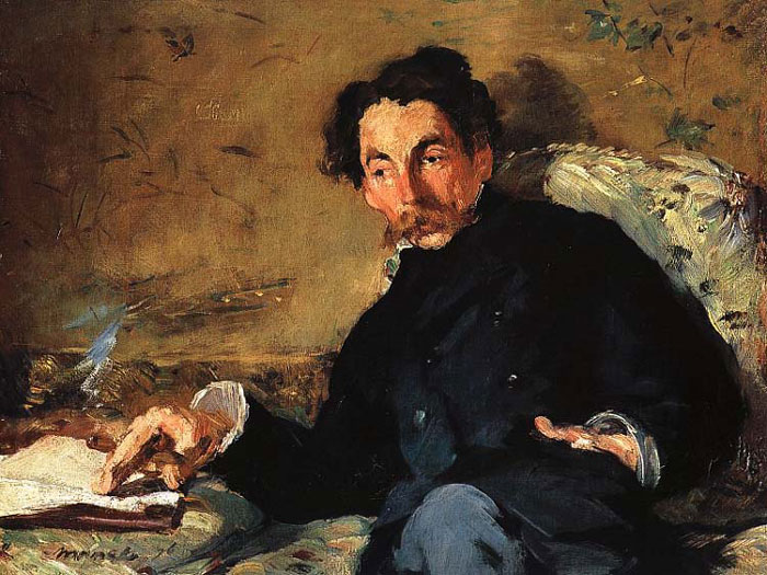 Edouard Manet, Portrait of Stephane Mallarme, the poet Mallarme sits, slightly reclined, with his hand on a book