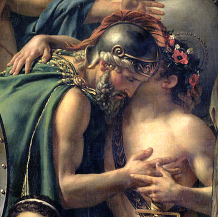 Jacques-Louis David, Leonidas at Thermopylae,1814, Louvre, Paris, France. Detail.  Father and son