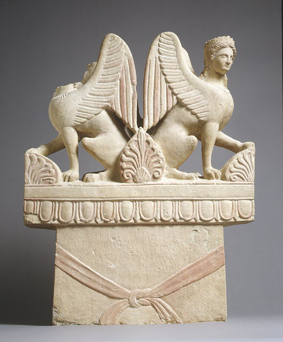 Funerary stelae of ancient Cyprus Cypro-Classical limestone funerary stele (shaft) surmounted by two sphinxes, last quarter of the 5th century BCE, Metropolitan Museum of Art, New York, NY, USA.