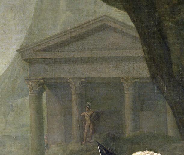 Jacques-Louis David, Leonidas at Thermopylae,1814, Louvre, Paris, France. Detail. A Greek temple