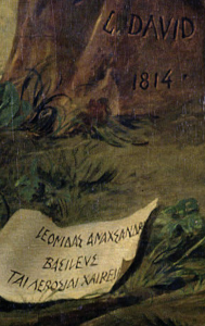 Jacques-Louis David, Leonidas at Thermopylae,1814, Louvre, Paris, France. Detail. A scroll near the right foot of Leonidas.