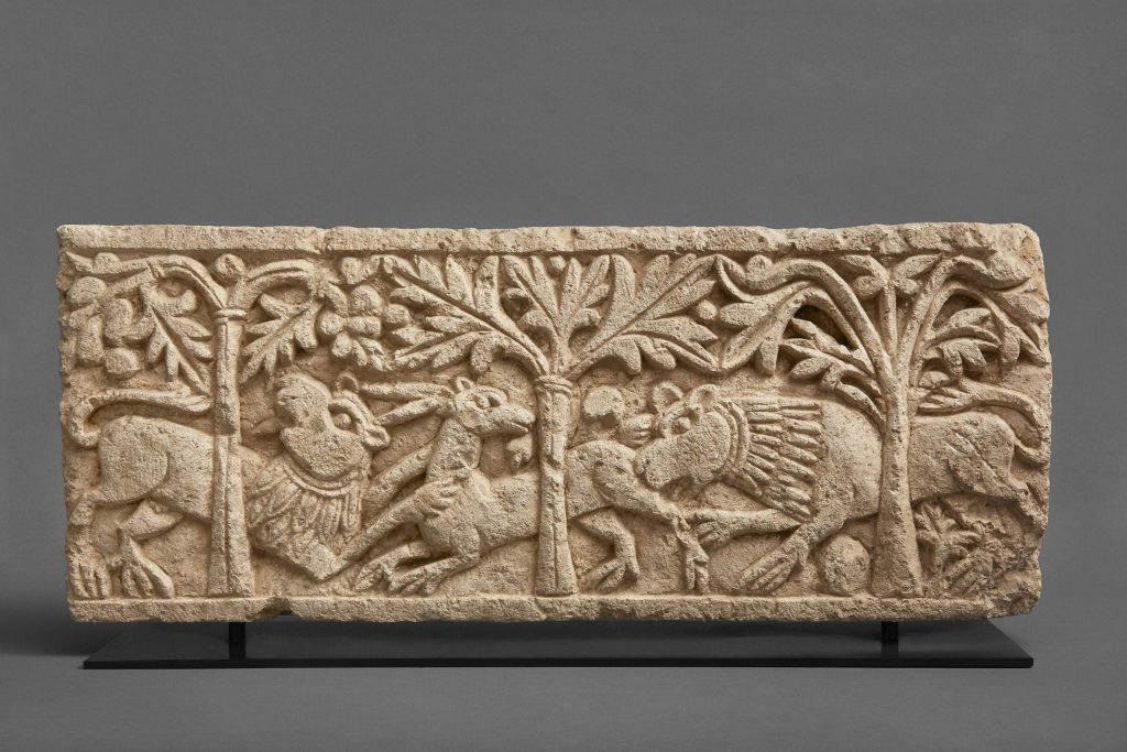 Lions and antelope, 6th or 7th century CE, limestone relief fragment, possibly from El Minya, The Nadler Collection