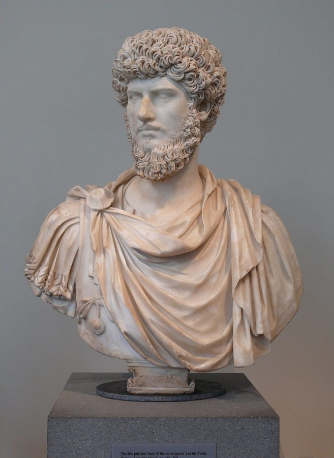 Roman Emperor Lucious Verus Sculpture or Bust showing beard in high relief