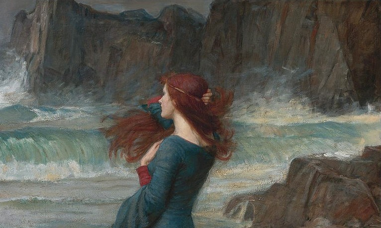 John William Waterhouse, Miranda, 1916, private collection. Sotheby's. Detail.