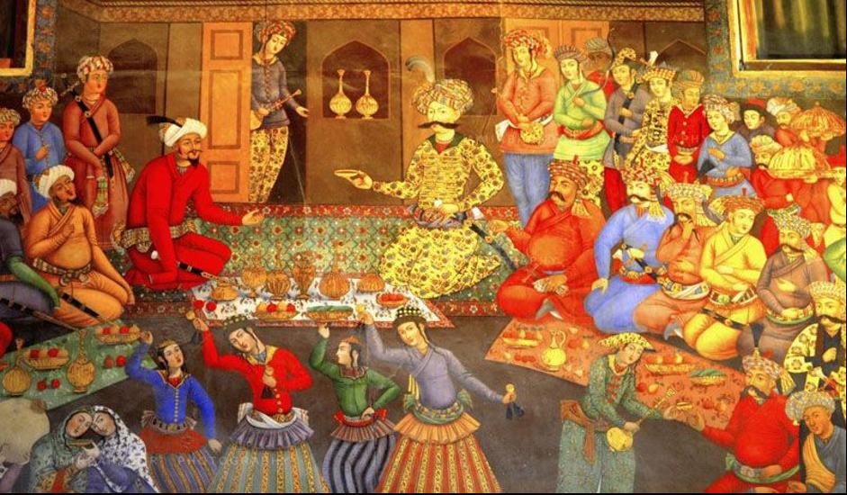 Safavid painting, Chehel-Sotun palace, Isfahan, Iran