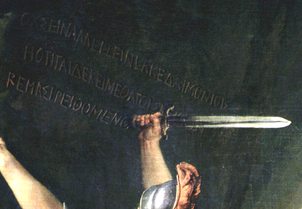 Jacques-Louis David, Leonidas at Thermopylae,1814, Louvre, Paris, France. Detail. . Spartan soldier inscribing the famous epitaph of Simonides on the mountain with the pommel of his sword