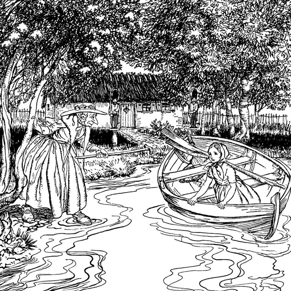 Arthur Rackham, The Old Sorceress and Gerda, illustration for the Snow Queen book, from the Pook Press publishing house.