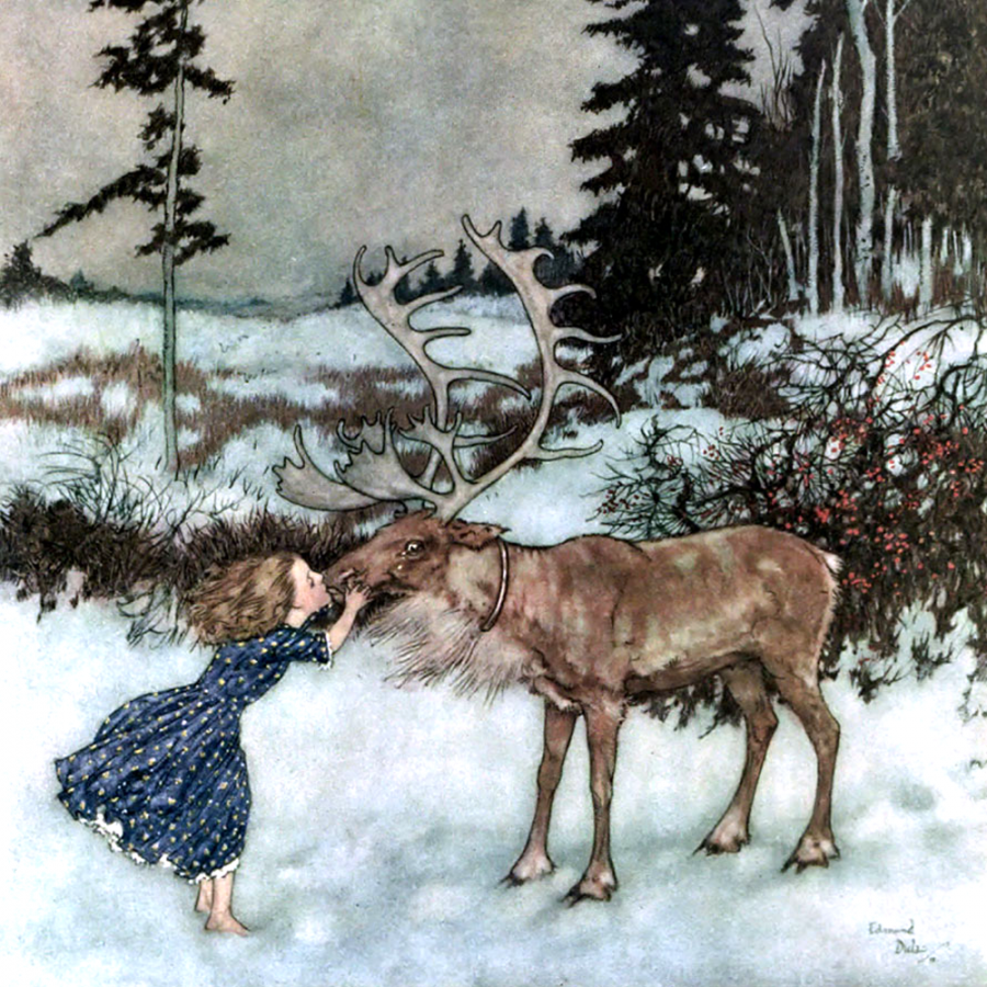 Edmund Dulac, Gerda and the Reindeer, illustration for the Snow Queen book, from the Pook Press publishing house.