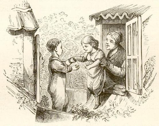 Wilhelm Pedersen, Kay and Gerda, 1844, original illustration for Andersen's Snow Queen. Wikimedia Commons.