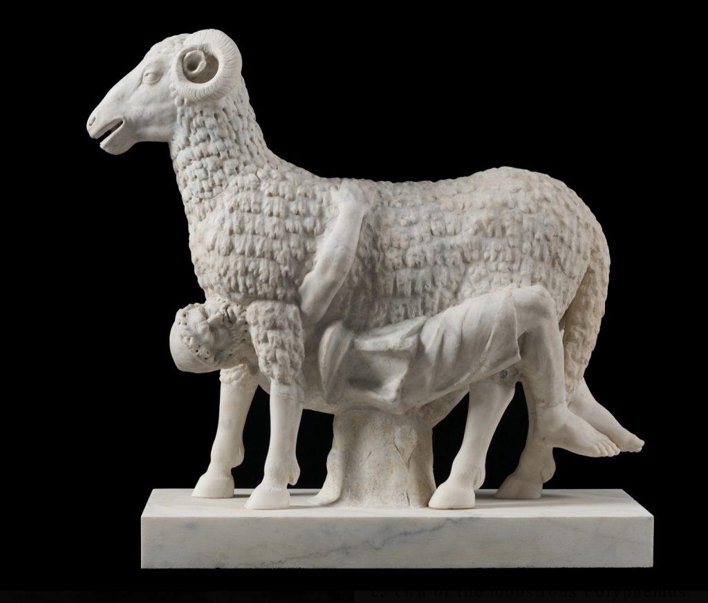 Torlonia Marbles Classical Collection Statue of Odysseus Beneath a Ram, Imperial Era, Musei Capitolini, Fondazione Torlonia, Rome.