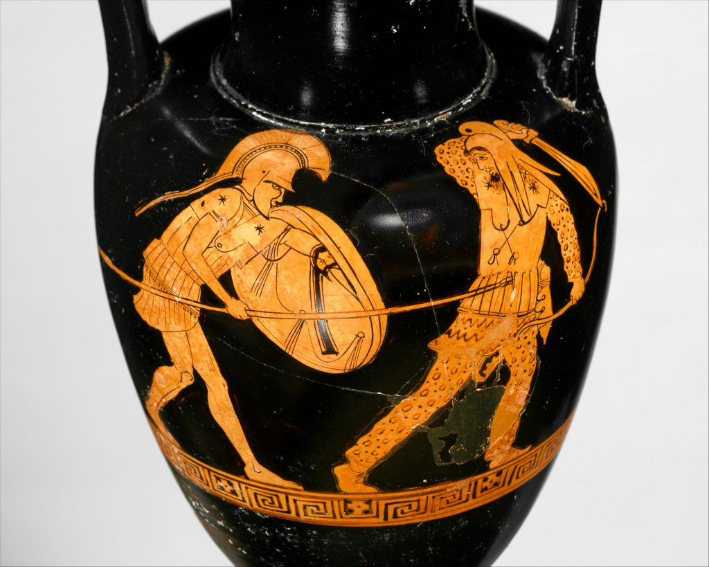 Terracotta Nolan Amphora depicting a fight between a Greek and Persian soldier