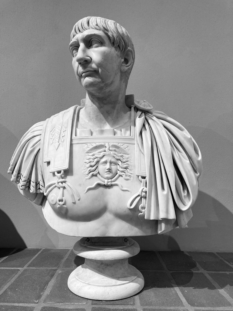 Torlonia Marbles Classical Collection Bust of Emperor Trajan.