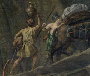 Jacques-Louis David, Leonidas at Thermopylae,1814, Louvre, Paris, France. Detail. Two Greek villagers who are escaping from the battlefield with their goods