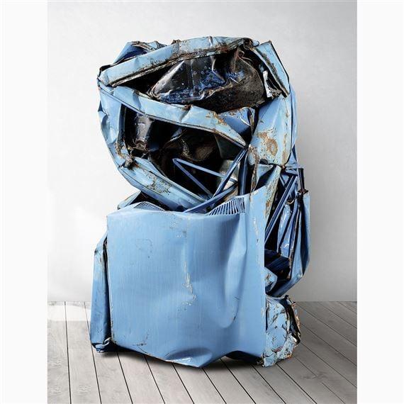 César Baldaccini, Compression (Compressed blue car), 1980, private collection. .