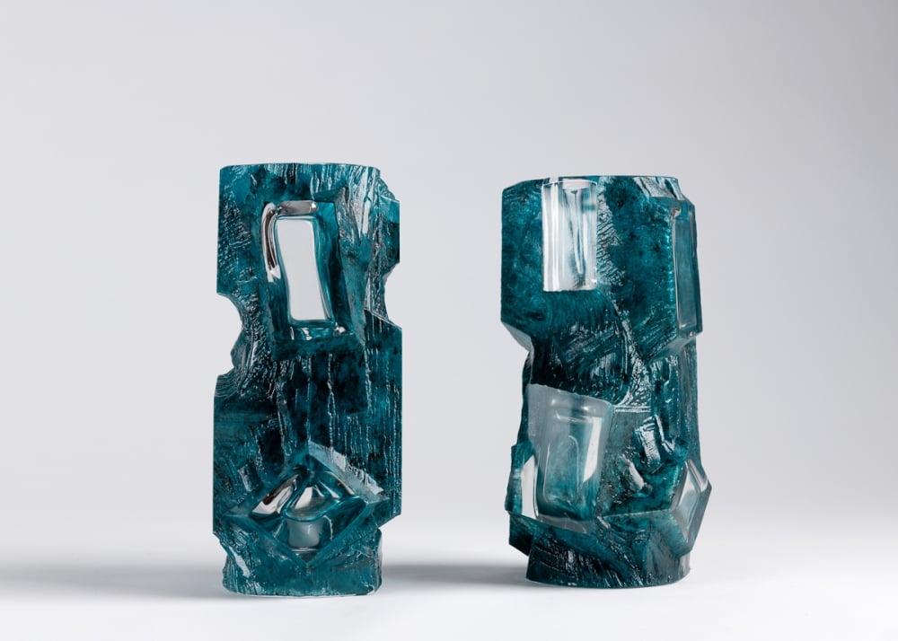 César Baldaccini, Pair of Aquamarine Vases in Crystal, 1975, DAUM, France. Source: www.maisongerard.com.