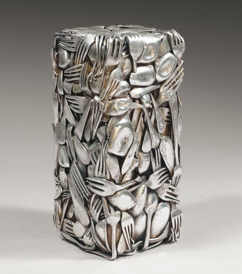César Baldaccini, Compression of silver-plated metal cutlery sculpture, 1990, private collection.