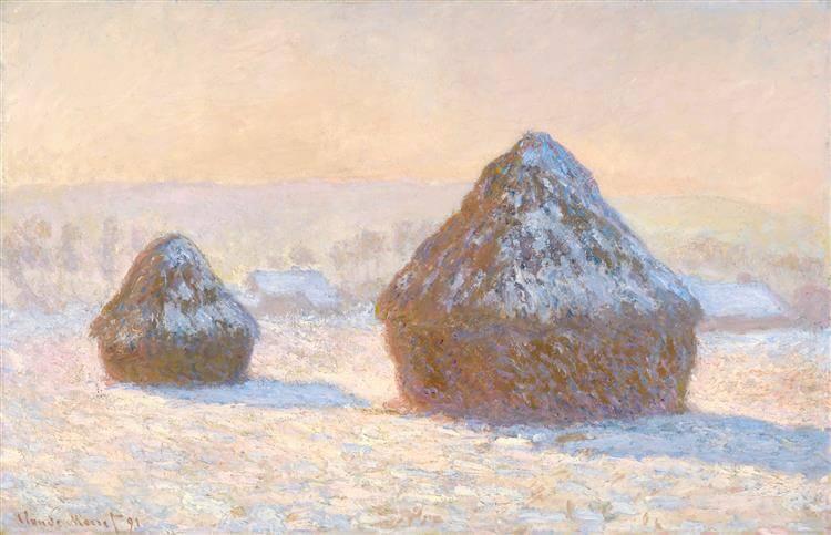 Claude Monet, Wheat Stacks, Snow effect, Morning.