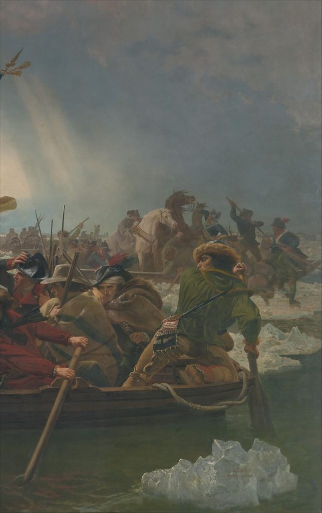 Close up of Emanuel Leutze's Washington Crossing the Delaware, oil painting, 1851, history in art