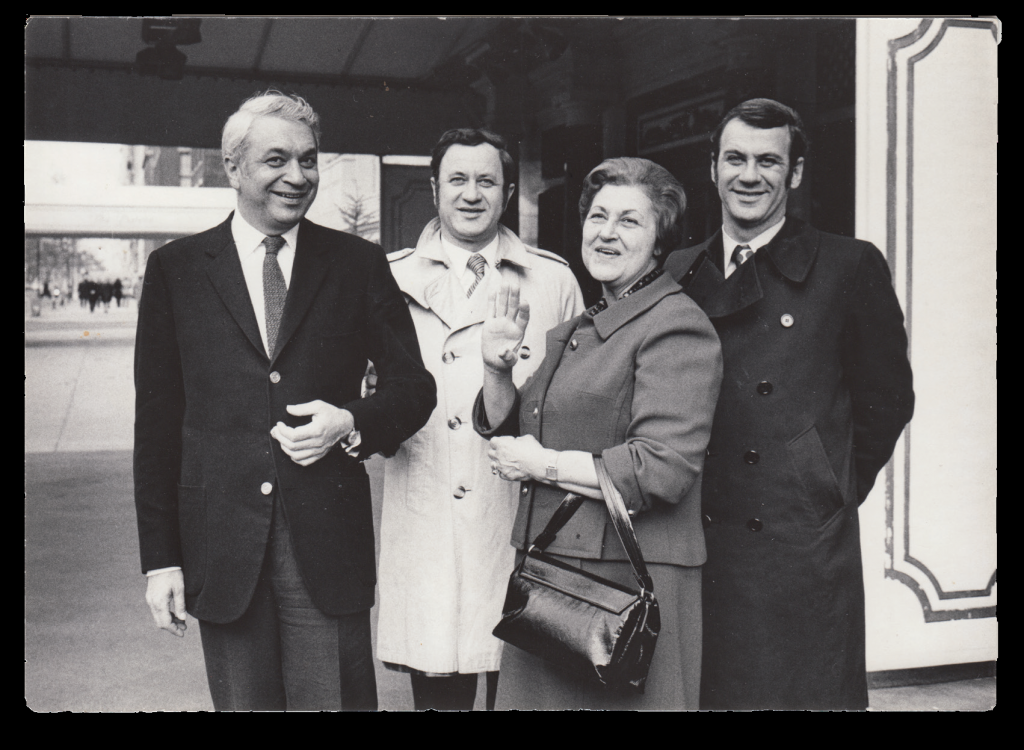 Pauline with Henri, Fred, and Emanuel Nadler in New York City, 1970. From the catalog of the exhibition, Nadler Collection. Georgia Museum