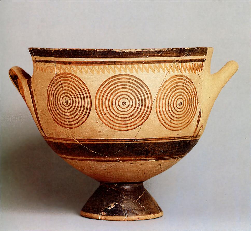 Protogeometric Skyphos from the 11th century BCE  Kerameikos Museum, Athens. Demonstrates early greek dark ages art