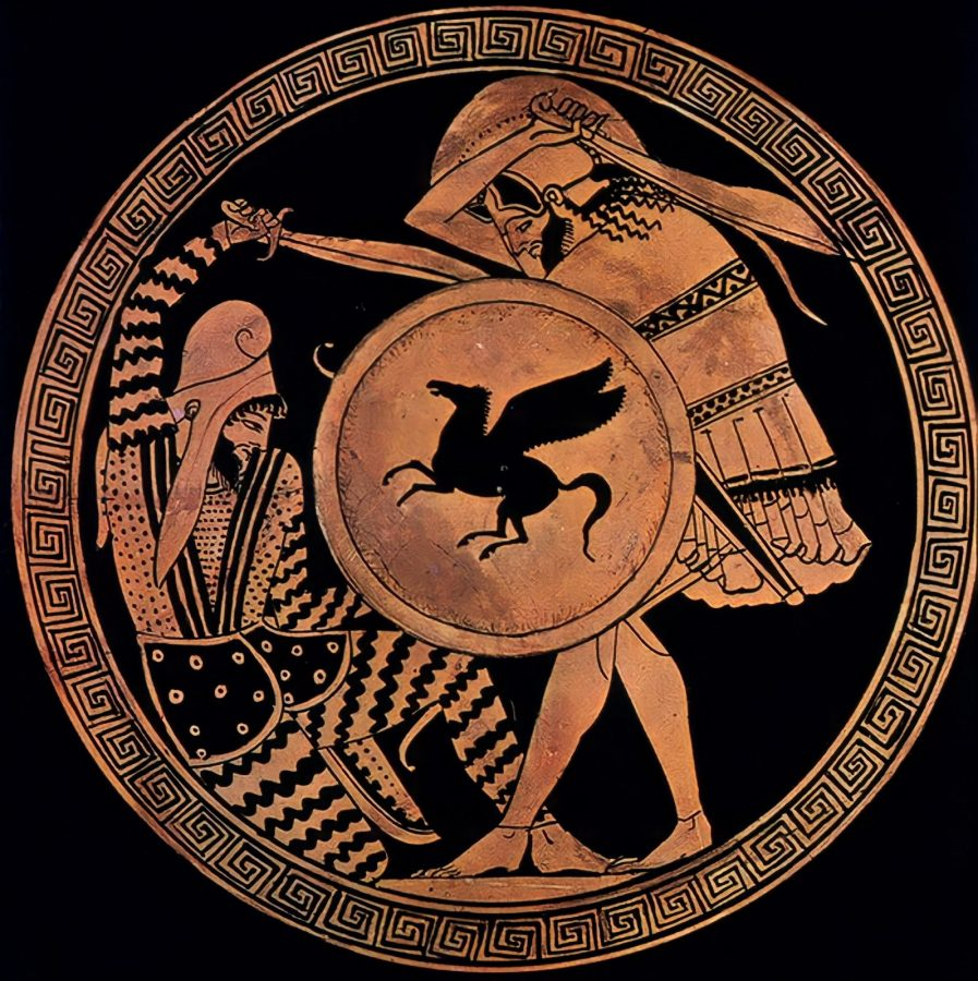 Red Figure Kylix by Triptolemos Painter depicting a sword-fight between a Greek and Persian soldier