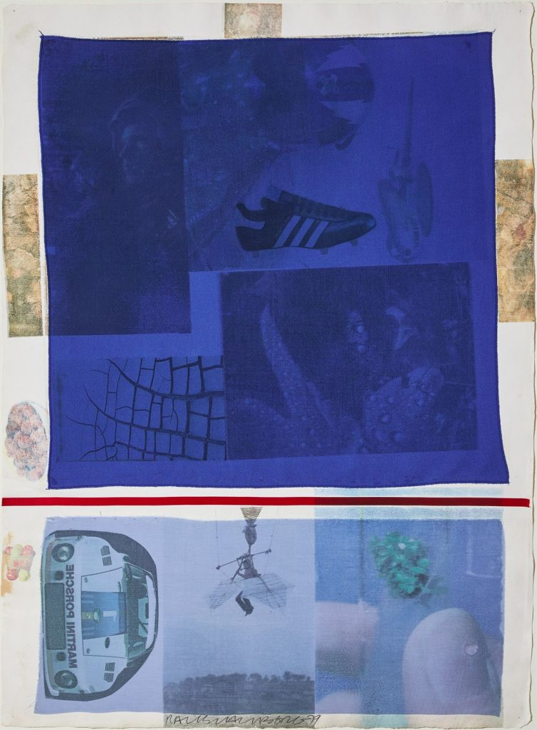 Robert Rauschenberg, Award, 1979, solvent transfer on fabric collaged on paper, 81.3 x 59.7 cm. Robert Rauschenberg Foundation, licensed by DACS London. Courtesy of Bastian Gallery.