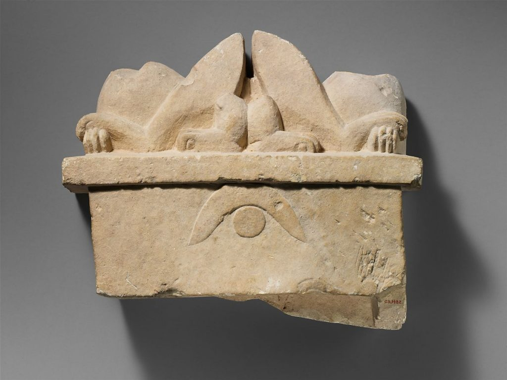Funerary stelae of ancient Cyprus Cypro-Archaic limestone funerary stele with two recumbent sphinxes, 2nd half of the 6th century BCE, Metropolitan Museum of Art, New York, NY, USA.
