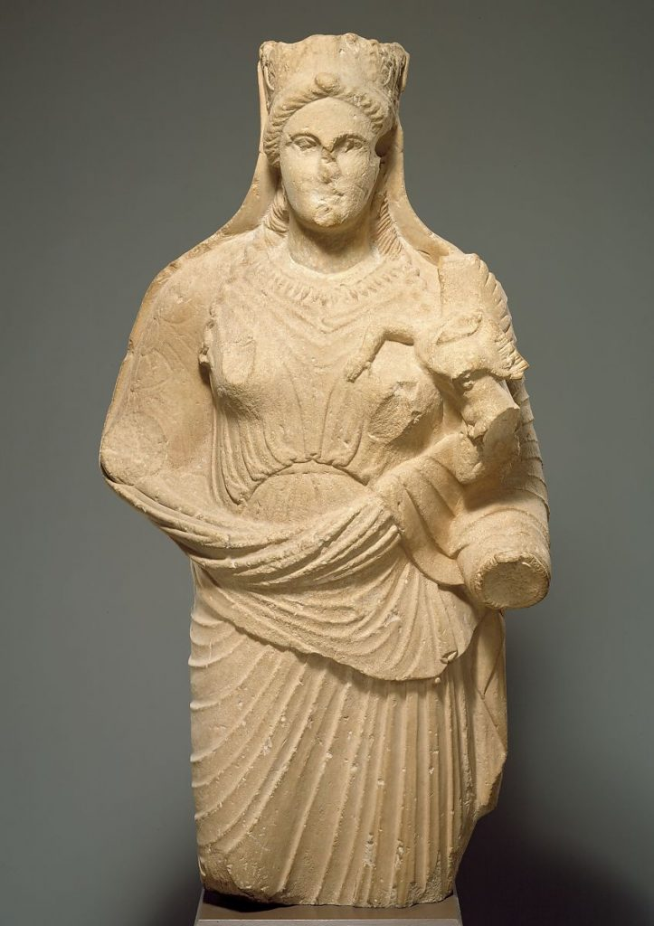 Classical Cypriot limestone statue of Aphrodite holding winged Eros, late 4th century BCE, Metropolitan Museum of Art, New York, NY, USA.