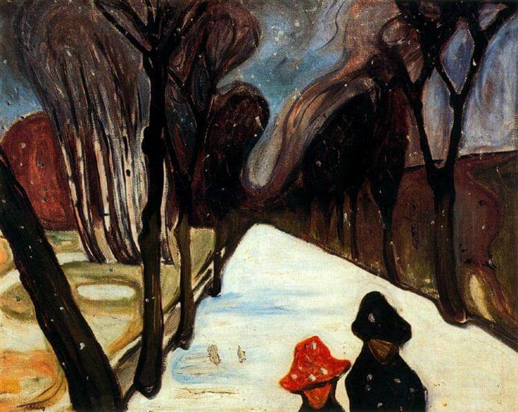 Edvard Munch, New Snow in the Avenue, Oslo, Snow covered, winter weather
