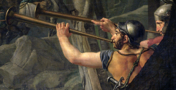 Jacques-Louis David, Leonidas at Thermopylae,1814, Louvre, Paris, France. Detail. Two trumpeters who are signalling that the enemy is near