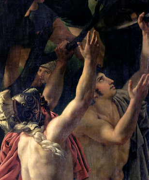 Jacques-Louis David, Leonidas at Thermopylae,1814, Louvre, Paris, France. Detail.  Two warriors who are quickly trying to gather their military equipment from a tree.