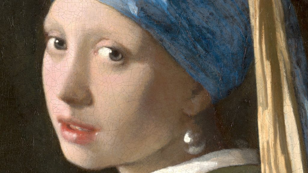 Johannes Vermeer, Girl with a Pearl Earring, c. 1665, detail, Mauritshuis Museum, The Hague, Netherlands.