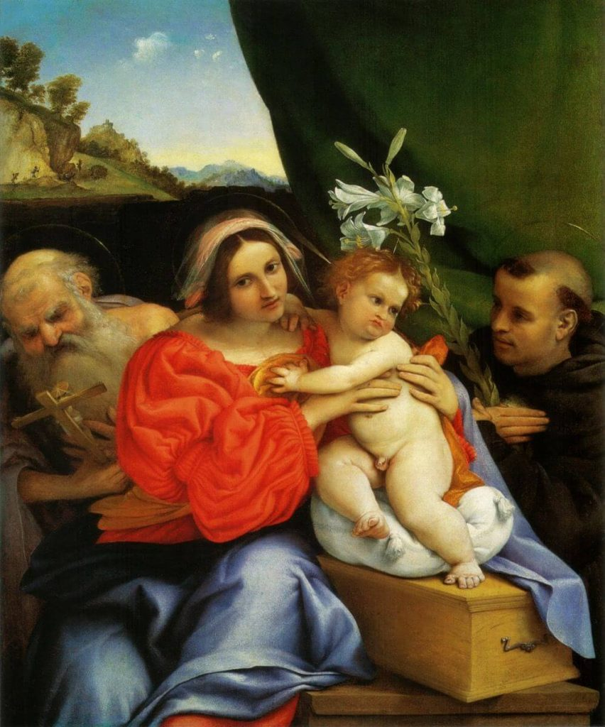 language of flowers, Lorenzo Lotto, Madonna with two figures and the Christ Child, white lilies, hidden messages in flora