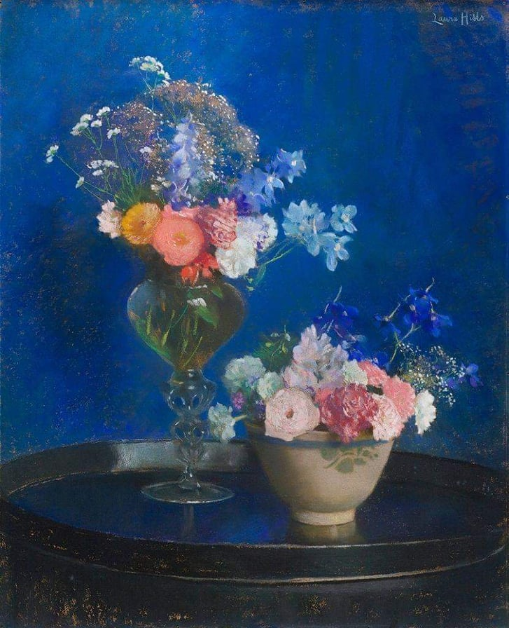 10 Most Artistic Flower Arrangements For Spring. Laura Coombs Hills, Mixed Bouquets, pastel on board,