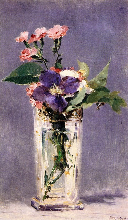 Edouard Manet, Pinks and Clematis in Crystal Vase, 1882, oil on canvas, Musée d'Orsay, Paris, France.