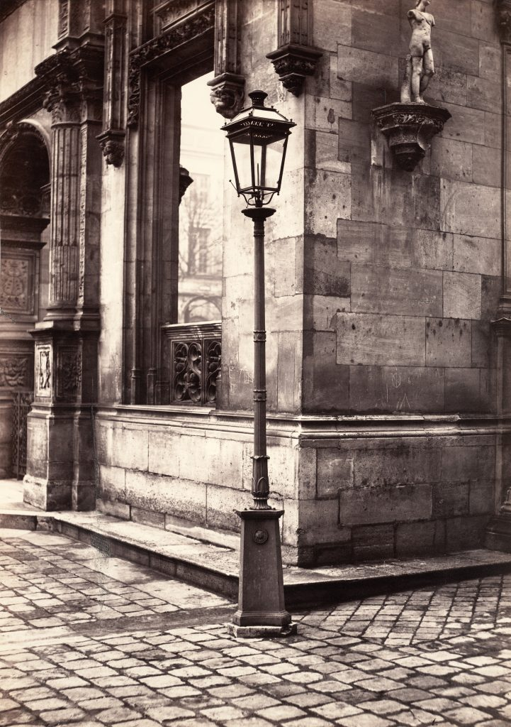 Paris in the early photographs: Charles Marville, Lamppost, Entrance to the École des Beaux-Arts, c. 1870, Collection W. Bruce and Delaney H. Lundberg, Metropolitan Museum, New York, NY, USA.