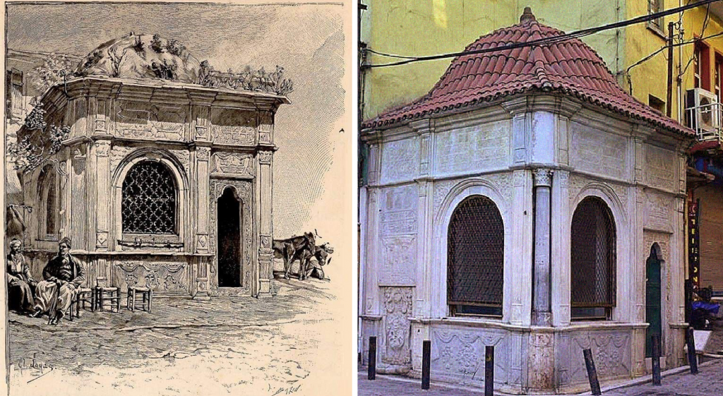 Rococo and Baroque architecture in Turkey: Dönertaş Fountain (1814) in Izmir, Turkey. The fountain's sketched plan on the left, a recent photo on the right. Twitter.