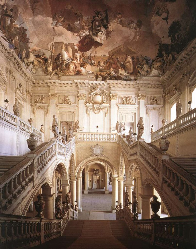 The central staircase in Würzburg Residence, Würzburg, Germany. Würzburger Residenz