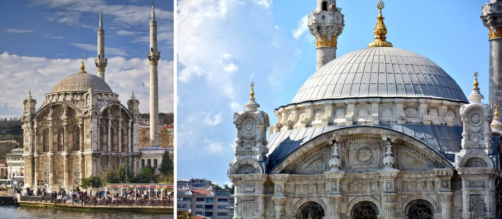 Rococo and Baroque architecture in Turkey: Ortaköy Mosque (1856) in Istanbul, Turkey. A full view on the left, details on the right. Twitter.