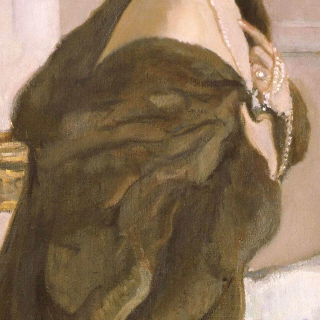Valentin Serov, Princess Olga Orlova, 1911, State Russian Museum, Saint Petersburg, Russia. Enlarged Detail of Fur and Pearls.