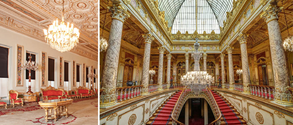 Rococo and Baroque architecture in Turkey: Interiors of Yıldız Palace (1880) in Istanbul, Turkey on the left, Dolmabahçe Palace (1843) in Istanbul, Turkey on the right. Twitter.
