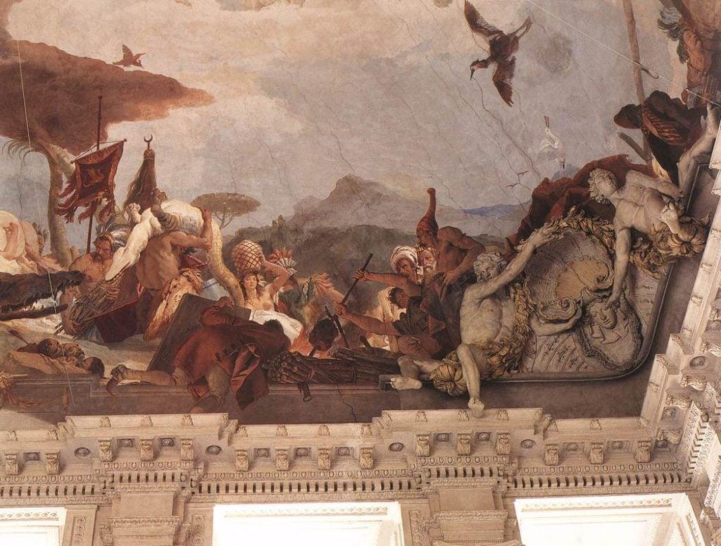 Giambattista Tiepolo, America, 1750-53 (detail) Würzburger Residenz The largest ceiling fresco: