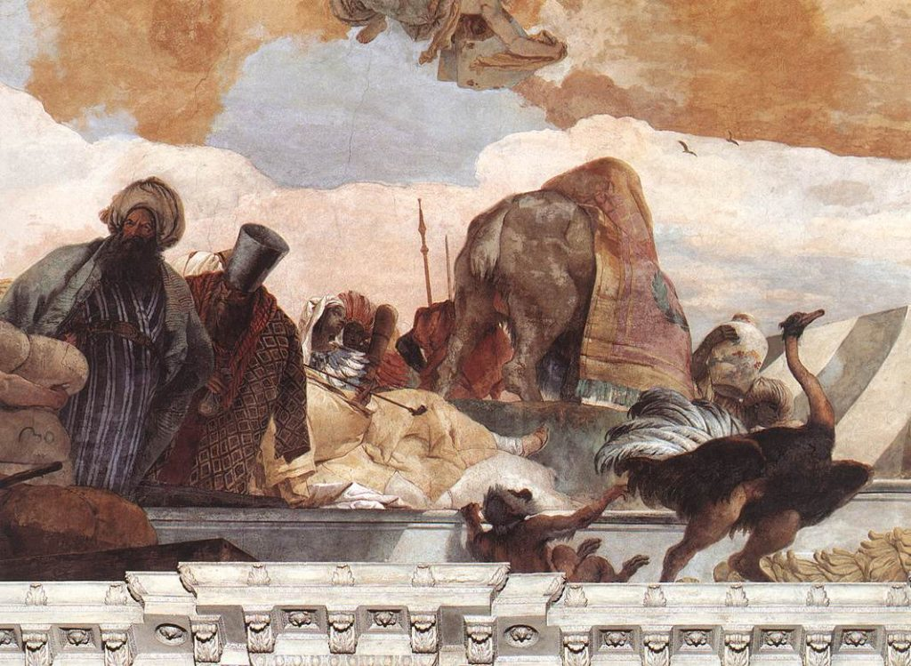 Giambattista Tiepolo, Africa from Apollo and the Four Continents, 1750-53, Würzburg Residence, Würzburg, Germany. Detail. The largest ceiling fresco:Würzburger Residenz