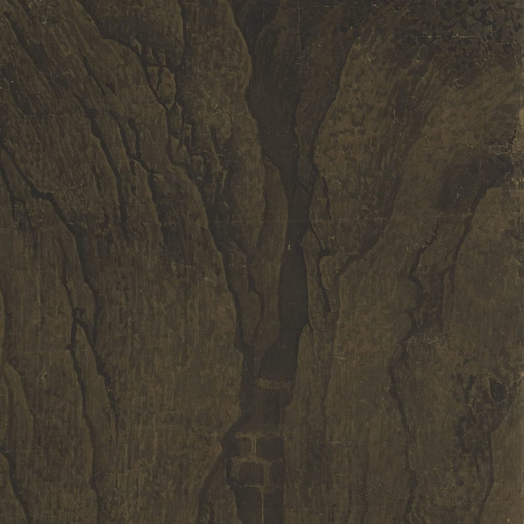 Fan Kuan, Travelers Among Mountains & Streams, early 11th century, National Palace Museum, Taipei, Taiwan. Enlarged Detail of Crevice.