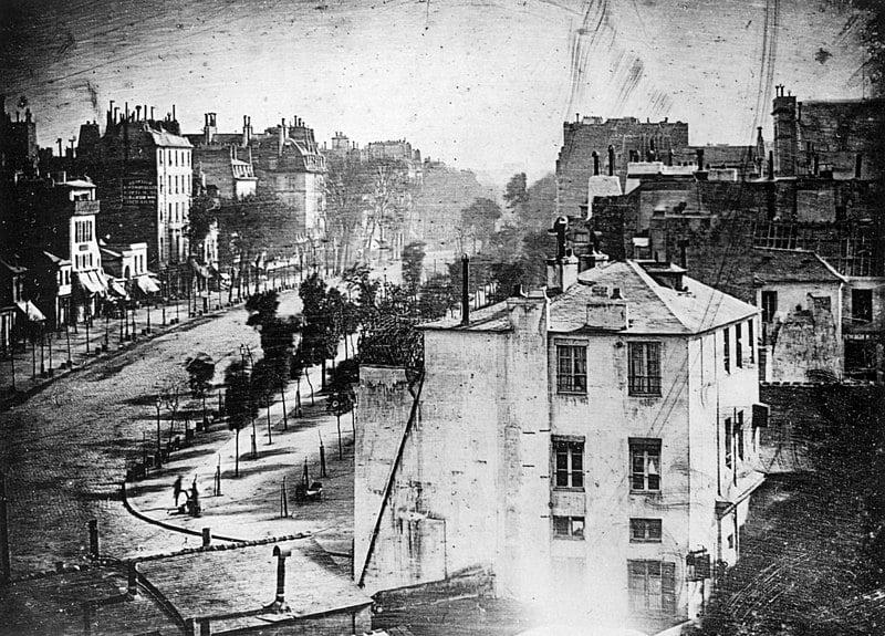 early photographers: Louis Daguerre, Boulevard du Temple, Paris, 3rd arrondissement, 1838. Wikimedia Commons.